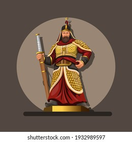Figure of admiral yi sun, he was a Korean admiral and military general famed for his victories against the Japanese navy during the Imjin war in the Joseon Dynasty. illustration in cartoon vector
