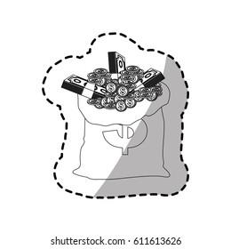 figure bank bag with coins and bills inside, vector illustration design