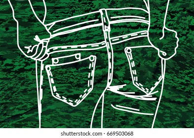 Figure chalk top of the jeans on the denim (green)