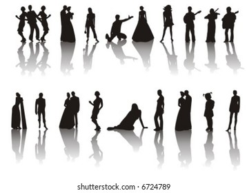 The figure containing of some silhouettes with shadow of men and women in different poses. The image is executed by black color on a white background