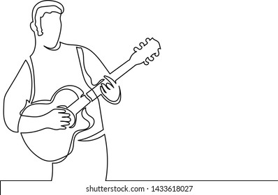 Figure continuous line of a man with a guitar. The concept of learning, performing at a concert. Work as a musician tutor