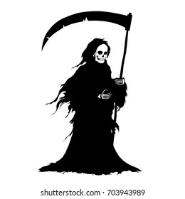The figure of death with big scythe in a black shroud. Design element for Happy Halloween cards, posters, banners or invitations. Cartoon style. Doodles. Vector illustration.
