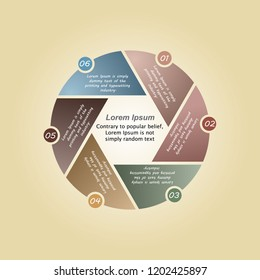 The figure depicts infographics in the form of a circle, and in the middle hexagon infographics for six positions on a yellow background. Infographics for business presentations, for the site, infogra