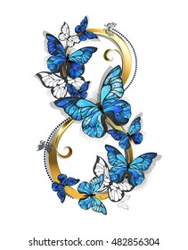 Figure eight of gold, decorated with realistic blue butterflies morpho on white background.