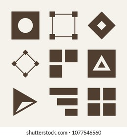 Figure filled vector icon set on wood color background such as triangle, squares, square, abstract, bars