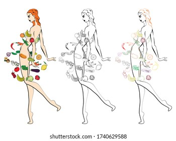 The figure of a girl surrounded by fruits and vegetables. Illustration of a healthy diet for weight loss and nutrition programs. A symbol for bars, restaurants and cafes that offer organic food.