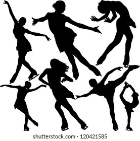 Figure ice skating vector silhouettes. Layered. Fully editable.