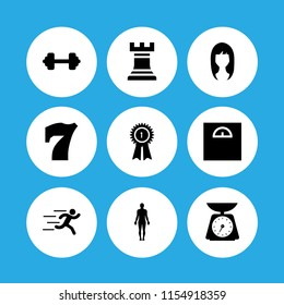 figure icon. 9 figure set with weight, chess, runer silhouette running fast and standing human body silhouette vector icons for web and mobile app