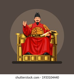 Figure of King Sejong the great, he was the fourth king of the Joseon Dynasty of Korea. symbol concept in cartoon illustration vector