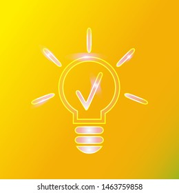 The figure is a light bulb icon that shines with effects. Icon for business, project, site.