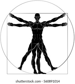 A figure like Leonard Da Vinci s Vitruvian man anatomy illustration