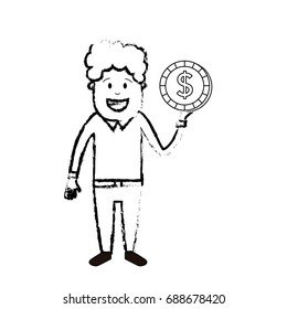 figure man with coin cash money in the hand