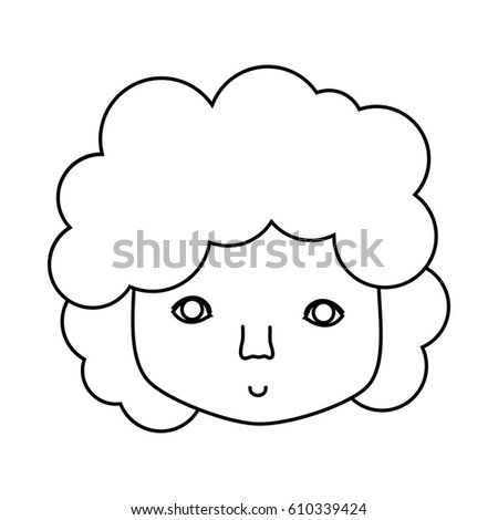 Figure Man Face Curly Hair Icon Stock Vector Royalty Free