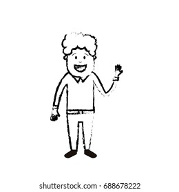 figure man with hairstyle design and clothes