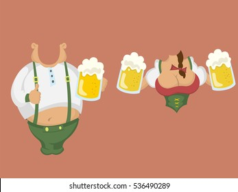 The figure of a man and woman with beer for a photo zone