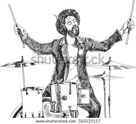 Figure Musician Drummer Plays Drum Set Stock Vector Royalty Free
