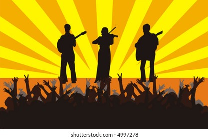 The figure representing concert performance on a stage of the violinist and two guitarists. Black silhouettes on an orange-yellow background