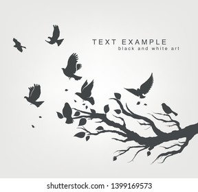 figure set flock of flying birds on tree branch