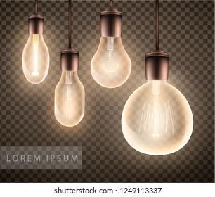 figure set of a luminous light bulb on a transparent background