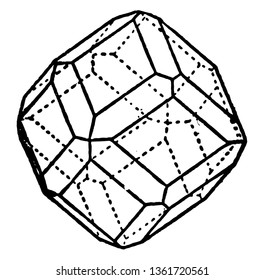 The figure showing combination rhombic dodecahedron and Icositetrahedron. Delimited by many trapezoidal faces, vintage line drawing or engraving illustration.