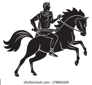 the figure shows Caesar on horseback