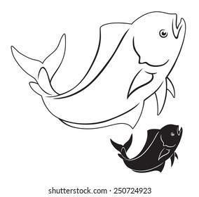 The figure shows a dorado fish