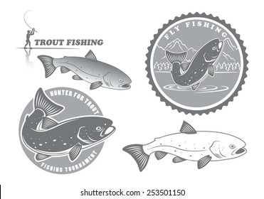 The figure shows the icons on the theme of trout fishing