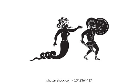 the figure shows the mythical hero Perseus and the Gorgon Medusa