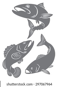 The figure shows the silhouettes of fish