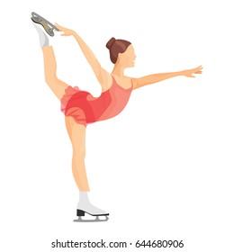 Figure skater girl in short red dress skating vector illustration