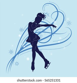 The figure skater's silhouette on a blue background from patterns and snowflakes. Vector illustration