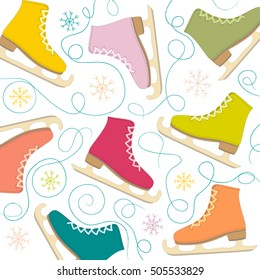 figure skates on the background of snowflakes vector illustration