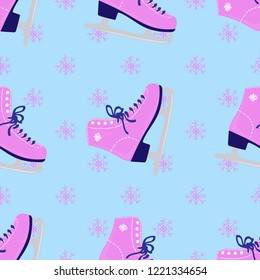 7545f38d30 Figure skates and snowflakes. Ice skates. Seamless vector pattern. For  printing