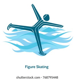 Figure Skating icon. Olympic species of events in 2018. Winter sports games icons, vector pictograms for web, print and other projects. Vector illustration isolated on a white background