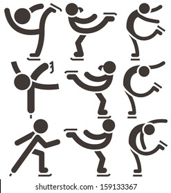 Figure skating icon set