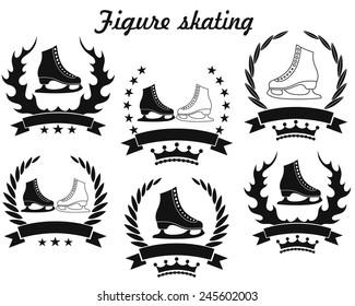 Figure skating logo. Isolated figure skating on white background