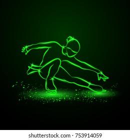 Figure skating neon illustration. The girl on skates performs her dance.