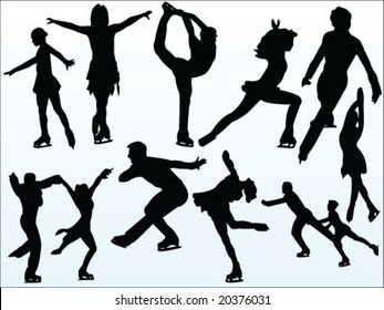 figure skating silhouette collection vector