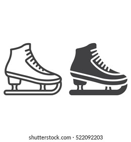 Figure skating symbol. ice skate line icon, outline and filled vector sign, linear and full pictogram isolated on white, logo illustration