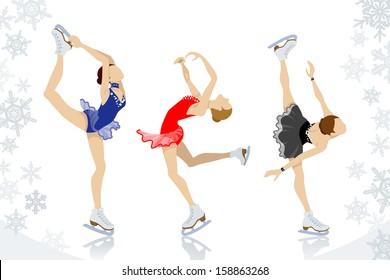 Figure Skating,three women