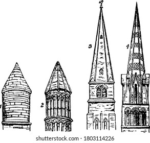 A figure that contains four different church, labelled as, 1, 2, 3 and 4, representing, Turret, St. Peter's Church, Oxford; Turret, Rochester Cathedral; St. Mary's Church, Cheltenham; Bayeux Church,