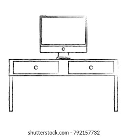 figure wood desk with drawers and computer screen