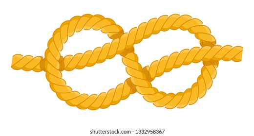 Figure-eight knot. Fastenings for masts, rey, sails. Figure-eight knot vector flat icon isolated on white