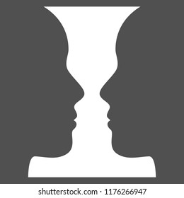 Figure-ground perception. Face and vase. Identifying a figure from the background (Gestalt psychology). Vector illustration.