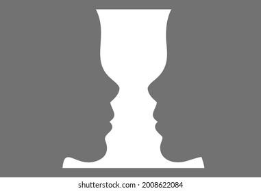 Figure-ground perception. Face and vase. Identifying a figure from the background  Gestalt psychology. Vector illustration.