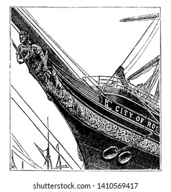 Figurehead of Ship is an ornamental figure as a statue or bust on the projecting part of the head of a ship, vintage line drawing or engraving illustration.