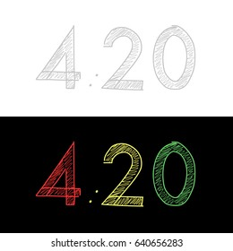 Figures 4:20 text. Vector illustration. Legalized marijuana. On white background gray. On a black background, a rasta color is red yellow and green. Drawing by hand.