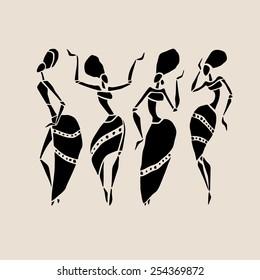 Figures of african dancers. Beautiful women. Dancing woman in ethnic style. Vector  Illustration.