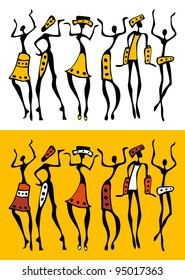 Figures of african dancers  set. Vector  Illustration.