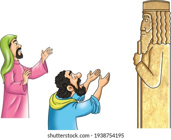 Figures from Arab history worship idols from religious stories